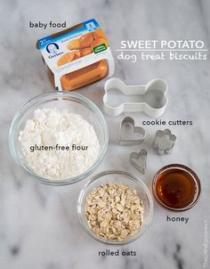 Sweet Potato Dog Treat Biscuits. 3.5 oz container sweet potato baby food, 3/4 cup 1 Tbsp gluten-free flour, 1/4 cup rolled oats, 1 Tbsp honey, 1 large egg.