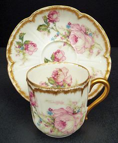 Antique Haviland Limoges Demitasse Cup Saucer by Eva