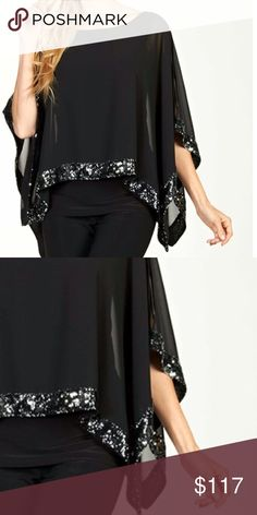 Shop Women's Frank Lyman Black Silver size Various Blouses at a discounted price at Poshmark. Description: Black Top with Silver Sequins Trim! Silver Sequin, Fashion Tips, Fashion Design, Fashion Trends, Black Tops, Kimono Top, Cover Up, Retail, Sequins