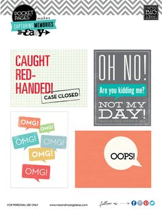 Free project life filler cards...oops, oh no, omg