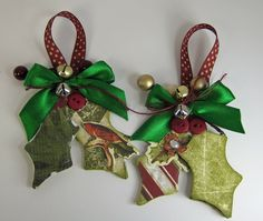 Sweet Christmas Ornaments!!!  Designer Tips: Use an unfinished wooden ornament as a template. Trace ornament onto patterned paper; cut out and adhere to ornament. Layer several different patterns of paper and stickers for dimension. Finish ornament by adding ribbon, bells, holly berries and buttons.   Use a strong liquid adhesive to adhere everything.