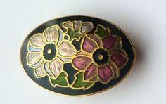 Vintage, stunning , black cloisonne enamel double flower design brooch by Fish and Crown.