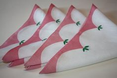 Lovely 4 Set Pretty Pink Vintage Linen Luncheon by FelicesFinds