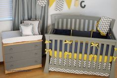Navy with yellow and grey chevron in the baby's room
