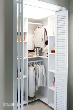 DIY Custom Closet Shelving (for deep closets) is part of Deep Closet Organization - Learn how to build a stunning custom closet system that doesn't waste any space! These free build plans are perfect for deep closets that are not walk in Small Closet Design, Small Closet Space, Bedroom Closet Design, Small Closets, Closet Designs, Closet Ideas For Small Spaces Bedroom, Small Walkin Closet, Small Walk In Wardrobe, Small Deep Closet