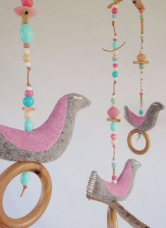 Bird Mobile Baby Nursery Hanging Beads Natural Girl by apieceofpie, $53.90