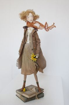 Zoe, student - art doll by Anna Zueva. 56 cm tall. Paperclay, textile, acryl, mixed media. No pre-fabricated parts. Handmade clothes only. Unique edition, date of work- March, 2014
