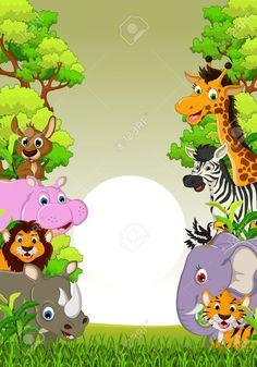 illustration of cute animal wildlife cartoon with forest background Stock Vector - 22778509 Jungle Animals, Cute Baby Animals, Safari Invitations, Safari Theme Birthday, Kids Cartoon Characters, Animal Hugs, Forest And Wildlife, Photo Frame Design, Islamic Cartoon