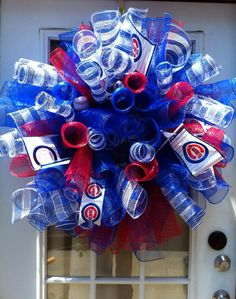 Chicago Cubs Wreath by OnAWhimByMeaghan on Etsy, $50.00