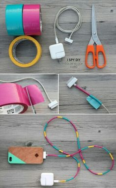 Rengarenk sarj aleti Washi Tape, Duct Tape Crafts, Coloured Tape, Cords, Phone Chargers, Diy Headphones, Crafts To Do, Cute Crafts, Diy Crafts