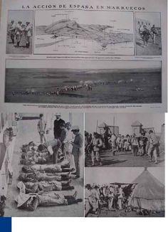 Los soldados muertos en la guerra. Cadáveres de ocho soldados depositados en las galerías del Cementerio de Melilla. El juez militar practicando la identicación de las víctimas  Regreso del campo de batalla. Llegada del general Imaz a Melilla   Llegada al campamento del capitán Borrero, herido en una pierna una hora después de haber desembarcado al mando de la primera compañía del batallón de Figueras.  http://es.scribd.com/doc/267450384/Fotoperiodismo-en-La-Guerra-Del-Rif-1909