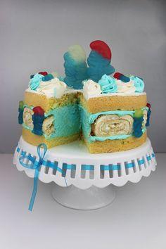 Haribo Schlumpf Biskuitrolle Torte - daniscupcakes Webseite!