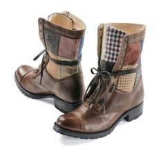 Pendleton Woolen Mills: PATCHWORK LEATHER BOOTS. These are the bees knees. Looks like a gypsy just stepped out of them.