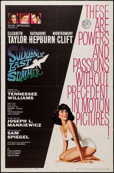 1960 Elizabeth Taylor movie poster Suddenly Last Summer original vintage