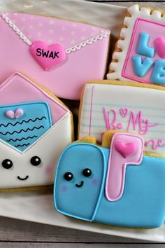 Learn how to decorate these adorable Happy Love Note cookies! Download FREE templates and find a cutter/stencil bundle to recreate this set!