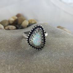 Lab Opal Ring Silver opal ring silver ring by MandanaStudios