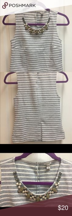 J.Crew grey and white striped tank top Like new! XXS tank top from J.Crew with beaded detailing at the neck with the beads still attached. Stretchy material is very comfortable. J. Crew Tops Tank Tops