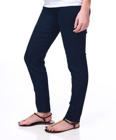 Take a look at this Navy Blue Basic Maternity Skinny Jeans by PinkBlush Maternity on #zulily today!