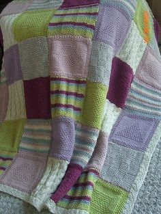 Afghan Square Knit Blanket by ♥ McKnittin ♥, via Flickr