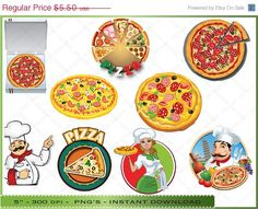 50 OFF SALE Pizza Clip Art  Clipart of by Digitalclipartstore