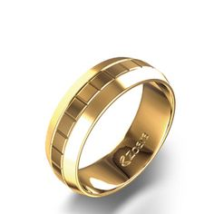 Square Facet Wedding Band in 14k Yellow Gold