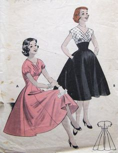 Vintage Sewing Pattern Empire Dress Surplice Neckline Retro 1950s Swing Dance or Party Butterick 7251 Teens Bust 32. $28.00, via Etsy.