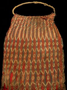 Egyptian Sprang Cap - CE 400 to 699 AD, Whitworth Art Museum, Manchester UK - click through to read the post by Franco Rios on analyzing structure possibilities from a photograph