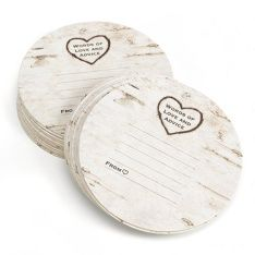 """These round coasters feature the appearance of birch bark with a carved heart at top. The phrase """"Words of Love and Advice"""" is printed inside heart. #rustic #favor.  www.poshweddinginvitations.com"""