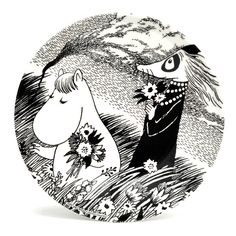 Beautiful black and white plate featuring Snorkmaiden and Fillyjonk.