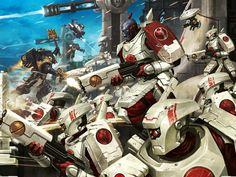 Vior'la Breacher Shas'la with team. Warhammer 40k Art, Warhammer Fantasy, Fire Warrior, Tau Empire, Far Future, Cyberpunk Art, Starcraft, Geek Art, Space Marine