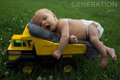 Newborn Poses Tonka truck
