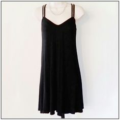 Sugar Lips Black Dress W/Clear Bead Detail Flowy black dress with a design on front straps and back. Really cute!  95% Rayon,  5% spandex.  Great condition. Sugar Lips Dresses
