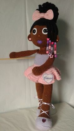 Crochet Doll; African American ballerina with curly afro puff and beaded braids!