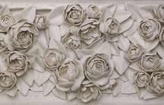 Detail of Frame with Roses and Peonies,  Porcelain, Glaze  www.gisellehicks.com