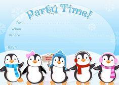 Free printable penguin winter or holiday invitation template from PrintablePartyInvitations.Blogspot.com