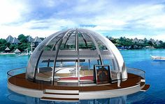 Dome-Shaped Solar Powered Boathouse by Orhan Cileili. solar-powered-houseboat2.gif (450×287)