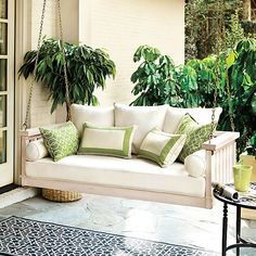 Sunday Porch Swing - just love this... think these would be so much nicer on a balcony than chairs!