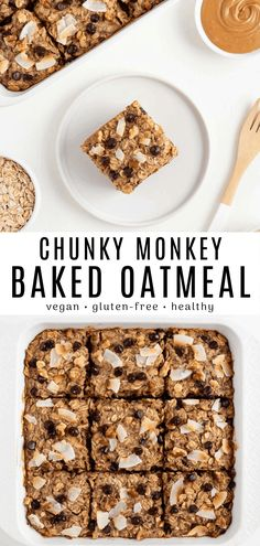 This chunky monkey baked oatmeal is vegan gluten-free moist and so fluffy! It's a chocolate chip banana baked oatmeal recipe with coconut peanut butter and walnuts. Make this healthy breakfast with one bowl in just 30 minutes! Healthy Breakfast Breads, Breakfast Desayunos, Healthy Breakfast Smoothies, Vegan Breakfast Recipes, Breakfast For Kids, Vegan Desserts, Healthy Breakfasts, Coconut Recipes, Baking Recipes