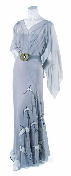 French Couture Pale Blue Day Dress, probably 1930s
