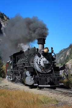 The Durango/Silverton RR by Bambi L. A beautiful vintage steam train. This line runs from Durango, Colorado to Silverton, Colorado through some spectacular scenery. Train Tracks, Train Rides, Old Steam Train, Old Trains, Vintage Trains, Choo Choo Train, Train Art, Steam Engine, Steam Locomotive