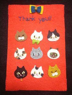 猫大集合のポストカードホルダーです。「Thank…