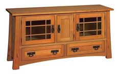 """Amish Montana Mission 60"""" TV Stand Durable. Beautiful. Made in America. The Montana makes for a lovely family room or living room addition. Storage, display space and more. Custom made in choice of wood, stain and more. #TVstands"""