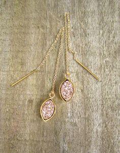 Rose Gold Druzy Earrings Threader Earrings Druzy by julianneblumlo