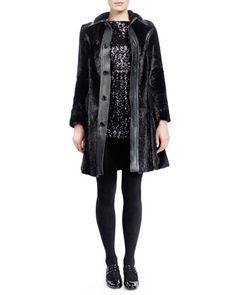 Mid-Length Marmot Fur Coat & Long-Sleeve Sequined Minidress by Saint Laurent at Neiman Marcus.