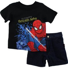 "Spider-Man ""Ultimate"" Black T-Shirt & Denim Shorts 2T-4T (2T) Marvel http://www.amazon.com/dp/B00BW4A6TS/ref=cm_sw_r_pi_dp_HpN0tb0PCC9101J5"