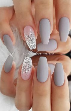 30 Fabulous Matte Nails Design For Short Nails - Page 9 of 30 - Latest Fashion Trends For Woman - short grey coffin nails, Matte short nails design, short nails acrylic, short square nails, almond - Prom Nails, My Nails, Fall Nails, Summer Shellac Nails, Vegas Nails, Beach Nails, Shiny Nails, Grey Matte Nails, Grey Nail Art