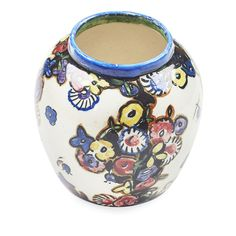 [§] JESSIE MARION KING (1875-1949)  CERAMIC VASE, CIRCA 1925  painted with panels of flowers, painted artist's mark to the base JMK with Greengate and rabbit marks  9.7cm high  Estimate £ 200-300  Sold for £450 (buyer's premium included)