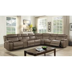 Furniture Of America Tuscher Contemporary Gray Leather Power Recliner Sectional  Sofa (Large). Country Decor, French ...
