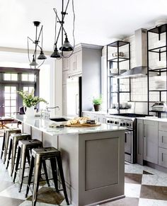Kitchen Ideas : Grey Kitchen Cabinets Unique Industrial Ideas Whole Design F Unique Industrial Kitchen Cabinets Kitchen Furniture, Kitchen Interior, Kitchen Dining, Kitchen Decor, Kitchen Ideas, Kitchen Grey, Kitchen Island, Island Stools, Kitchen Sink