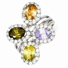 Sterling Silver Multi-color CZ Ring  #Jewelry #Fashion #Colorful #Ring  http://www.icecarats.com